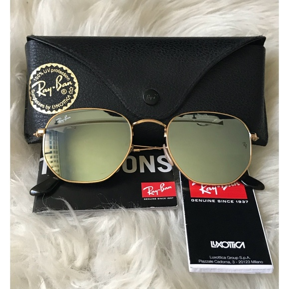 f74eb0bd4db Auth Ray-Ban Hexagonal Flat Silve Flash Sunglasses.  M 5a46af9e5512fdf400128585. Other Accessories ...